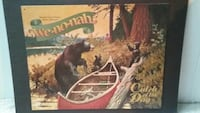 red and white wooden canoe painting with bears poster