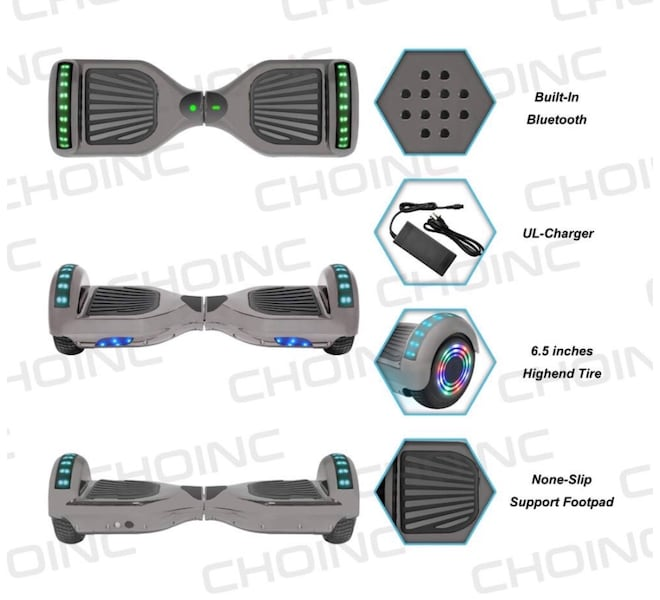 Chrome Electric Smart balancing Hoverboard LED lights efcb3a9e-1adc-4028-bb99-e35bee57349d