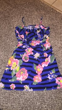 women's purple and pink floral spaghetti-strap dress