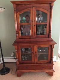 brown wooden china buffet hutch null