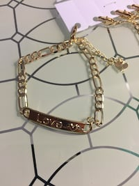 """14k Gold Plated ID Love And Heart Bracelet 7"""" 4mm"""