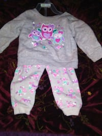 toddler's pink and white floral pajama set Athens, 35613