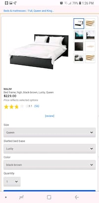 Queen Dark Brown Bed Frame 39 km