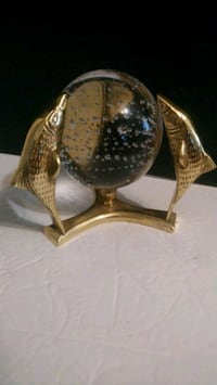 Brass fish bubble glass paperweight