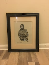 C. Marsden-Huggins Black and white framed 21x17 painting/print of man Washington, 20001