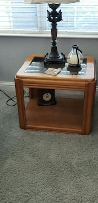 brown wooden framed glass top side table Elk Grove, 95624