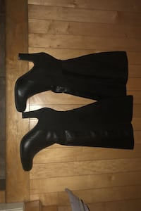 Never Worn Black thigh high boots 7.5 wide foot