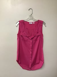 Women's NEW YORK a& CO. Polyester hot pink button front sleeveless blouse… Size-XS