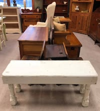 (SJA) Early / Primitive / Farmhouse White Painted Bench