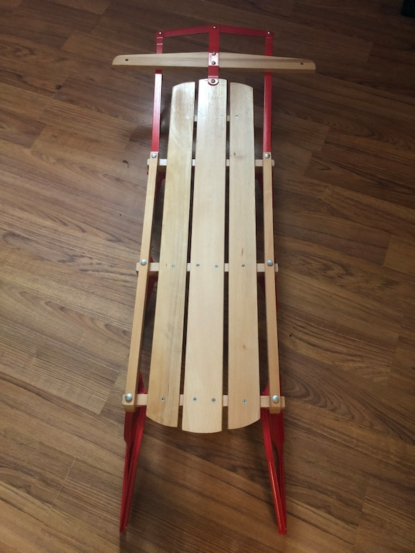 53 Wooden Sled W Metal Runners