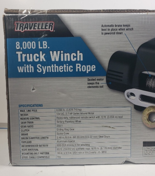 NIB Traveller 12V 2 7HP Electric Truck Winch 8000 lb  Capacity Never  Opened! WOW
