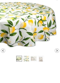 70 inch round table cloth grey and yellow flower and leaves design