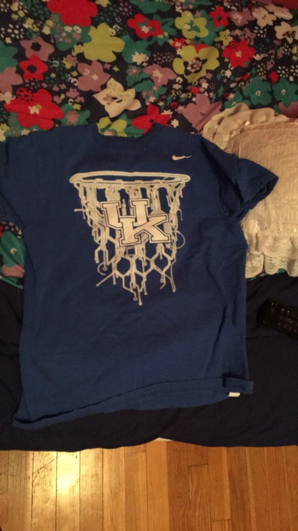 blue and white Nike crew-neck T-shirt