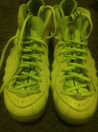 pair of yellow Nike Foamposite Pro shoes 47 km