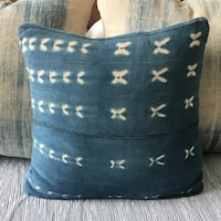 18 inch vintage indigo African mud cloth pillow cover. Seattle, 98122