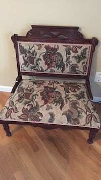 gray, red and green floral fabric brown wooden framed bench Lawrenceville, 30045