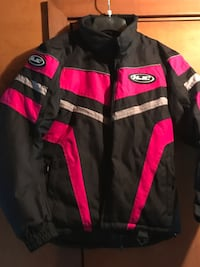 Hot pink and black womens size 8 snowmobile jacket. Mint condition rarely used. HJC brand, super warm. Williams, 18042