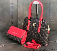 Tote bag in pelle Louis Vuitton nera e rossa Monteviale, 36050