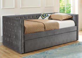 GLAM Purple or gray Velvet Daybed Trundle**No Credit Needed**Buy now pay LATER