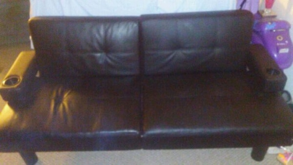 Leather Futon With Built In Cupholders