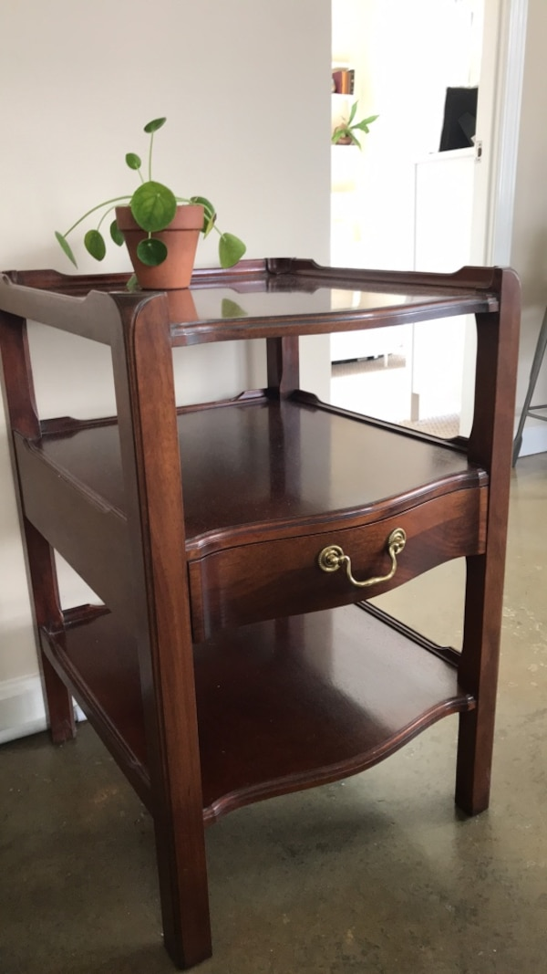 Brown wooden side table