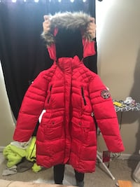 Red and gray zip-up parka coat