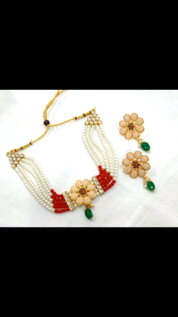 yellow and red beaded necklace