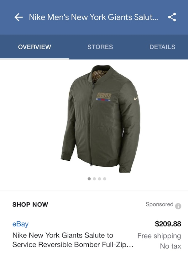 cheaper 2b72e 8f615 Giants Limited edition salute to service bomber jacket brand new never worn  reversible