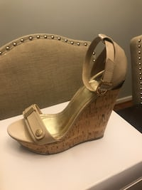 Nude wedges. With gold hardware.  Oxon Hill, 20745