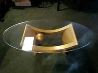 round brown wooden framed glass-top coffee table Wyandotte, 48192