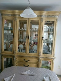 brown wooden framed glass display cabinet Abbotsford, V2S