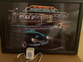 Mickey's Diner Car LED painting/ poster with wall adapter