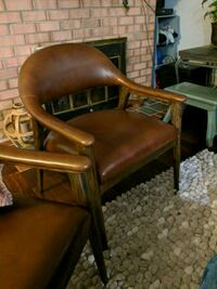 brown wooden frame brown leather padded chair Lorton, 22079