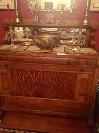 Exceptional antique tiger wood buffet with attached mirrored shelf. It's a beauty and sooo functional. Spacious !!Oak with attached shelf and mirror adds to excellent charm !! Berwyn Heights, 20740