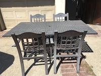 rectangular black wooden table with six chairs dining set Pomona, 91768
