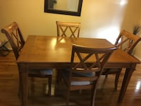 Rectangular brown wooden table with four chairs dining set Greenbelt, 20770