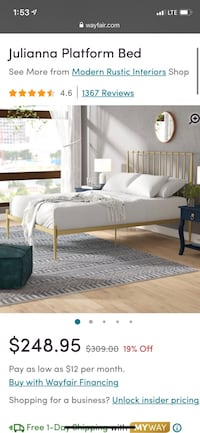 Queen size gold bed Ranson