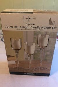 3- piece Votive or tealight candle holder set including candles