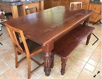 Vintage SOLID WOOD FARMHOUSE Table with five chairs & WOOD BENCH Temescal, 92883