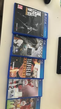 Alle sony ps4 spill selges. . The last of Us, watch dogs, FIFA 16 , battlefield hardline, NHL 16 Lillehammer, 2608