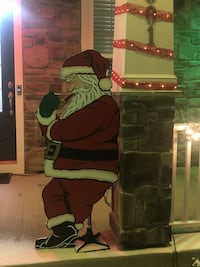 We made an extra Santa decoration this year.  It's available for $50 if anyone is interested.  Cut from wood, hand painted. About 4.5 feet tall. Woodbridge, 22193