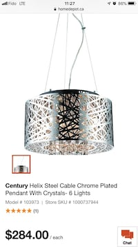 Cable Pendant Ceiling Light with Crystals Vancouver, V6Z 2E1