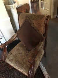 brown wooden framed brown padded armchair Windsor Mill, 21244