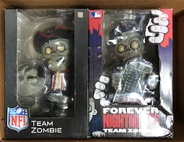 Patriots and Red Sox zombie statue