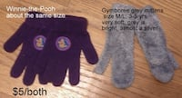 Gymboree grey mittens and Winnie-the Pooh gloves