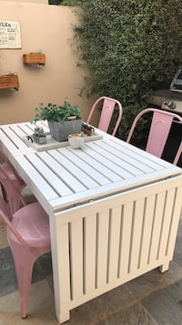 Extendable long white outdoor dining table Santa Monica, 90404