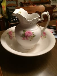 Large beautiful wash bowl with pitcher