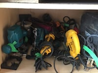 two green and one black corded power tools KELOWNA