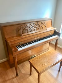 brown wooden upright piano with chair Arlington, 22204