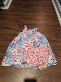 girl's blue and red floral dress with panty